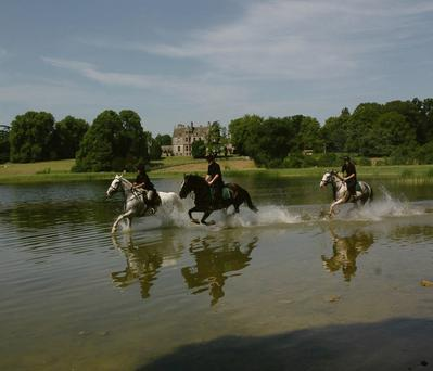 IDEAL SETTING: Cantering across the lake at the glorious CastleLeslie in Co Monaghan