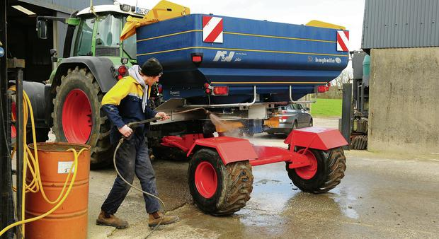 Mark Corrigan from Tullow, Co Carlow on work placement from Kildalton College after spreading ADM fertiliser on winter barley for Hugh McDonald at Bagenalstown, Co Carlow PHOTO: ROGER JONES