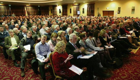 Challenge: Some of the huge attendance at a CAP meeting, Claremorris, Co Mayo. Photo Brian Farrell.