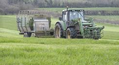 Joe Boyce pictured cutting grass for the 100-cow herd