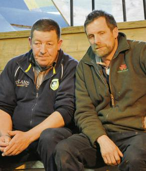 Eddie O'Connell, Kilcommon and Garret Kennedy, Rearcross, Co Tipperary, are pictured watching the trade at Nenagh Mart. Photo: Martin Ryan.