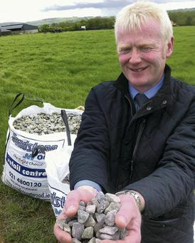 Top Choice: Roadstone's Denis Buckley showing some of the firm's most popular choice aggregate for mole drainage