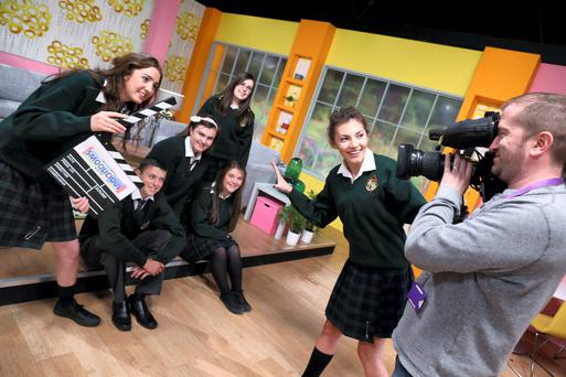 Six secondary school students from Co Kildare spent a day with TV3 and 3e. The TY students from Ard Scoil na Tríonóide, Rathstewart, Athy, Co. Kildare won the top prize in National Dairy Council's Milk It Awards. They are Ellen Purcell, Adam Ryan, Emma Owens, Clodagh Walsh and Anna Cully.