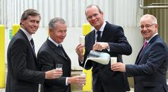 Padraig Brennan of Bord Bia, Patrick Miskelly of Mondelez, Minister Simon Coveney and Ian O'Toole, Mondelez, promoting the Origin Green programme as a cornerstone of the Irish food business