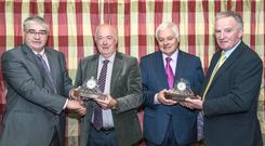 Noel Coughlan, Mitchelstown (2nd from left) & Frank O'Flynn, Glanworth, (3rd from left) are pictured at a presentation to mark their retirement from Dairygold after many years of service to farmers in the Mitchelstown Regional Area. Also included are Dairygold Board Members Tom Feeney & Pat O'Keeffe. Photo O'Gorman Photography