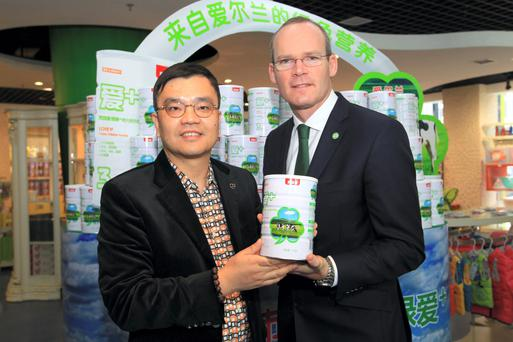 Minister Simon Coveney with Mr Sam Xie of the Beingmate baby food distribution company which will handle Kerry Group's new line of infant milk formula products in China