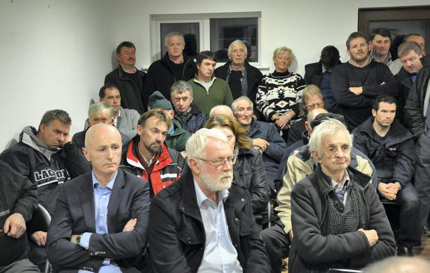 Protest meeting at Athea GAA clubhouse against designation of land as special area of conservation for the hen harrier