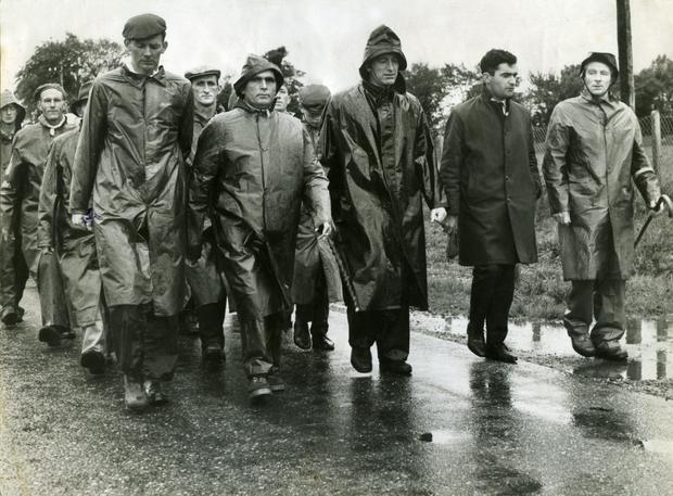 TJ Maher (far right) leads the North Tipperary IFA group on their march to Dublin during the 1966 farmers' rights campaign