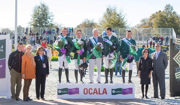Darragh Kenny, Kevin Babington, Robert Splaine (Chef d'Equipe), Lorcan Gallagher, Conor Swail at the 2015 Furusiyya FEI Nations Cup in Ocala, Florida. Photo: Anthony Trollope
