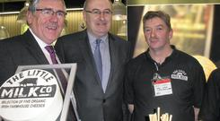 Minister Tom Hayes, EU Agriculture Commissioner Phil Hogan and John Liston from the Little Milk Company, Limerick at the Biofach organic show on Nuremberg