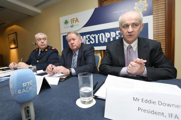 Assistant Garda Commissioner Derek Byrne, Tim Dalton, Chairman Crimestoppers and IFA President Eddie Downey pictured at the launch of the joint campaign to combat livestock theft. Photo: Finbarr O'Rourke