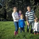 Farmer Shane O'Loughlin, wife Joanne children, Dominic, Sophie and Charlotte in Aughrim, Co Wicklow. Photo: Garry O'Neill