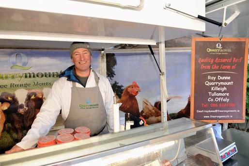 Beef farmer Ray Dunne sells directly to the customer at four weekly markets including the Milk Market in Limerick city. Photo: Margaret Brown.