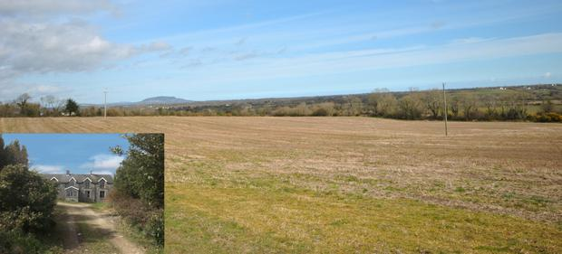 Potential: The farm near Gorey is in both tillage and grass and comes with a residence (inset) which requires renovation