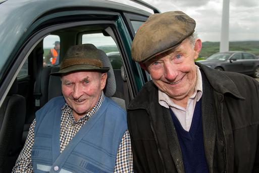 Host farmer Samuel Coleman and local ploughman Mikey Lynch at the Cavan Ploughing Championship which was held at Mountain Lodge last week. Photo: Alex Coleman