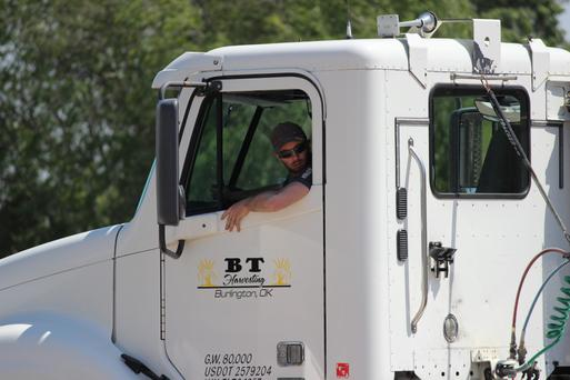 Jamie goes through his paces for the commercial drivers' licence test