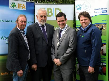 The search is on for the next FBD Young Farmer of the Year. Pictured are John Hanly, IFA; Adrian Leddy of IFA; Sean Finan, president Macra na Feirme; and Tommy Grehan, FBD Insurance. Members of Macra and the IFA are invited to apply on macra.ie by June 5.