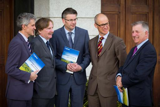 Stephen Kavanagh and Tom McDonald of SCSI at the launch of the Land Market Review with Teagasc's Trevor Donnellan, Kevin Hanrahan, and Prof Gerry Boyle