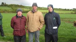 Paddy O'Brien Teagasc advisor, Ned Morrissey host farmer and Paul Crosson, IGA president, at the recent IGA sheep event on the Morrissey at Dunhill, Co Waterford