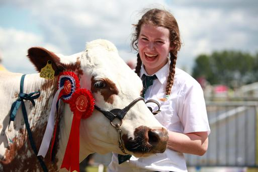 Louise Carter of Roscrea Co. Tipperary and Ransboro Blossom 1sr Prize Champion Dairy Short Horn pictured at the Cork Summer Show