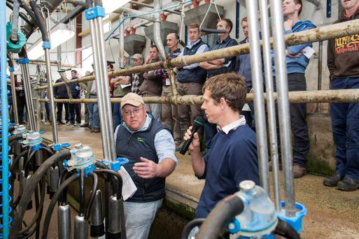 Adrian O'Callaghan, Teagasc Mallow & host Edward Donovan, Ballybranagh, Cloyne, Co Cork are pictured speaking to farmers at the Dairygold/Teagasc dairy development programme farm walk for new entrants. Photo O'Gorman Photography.