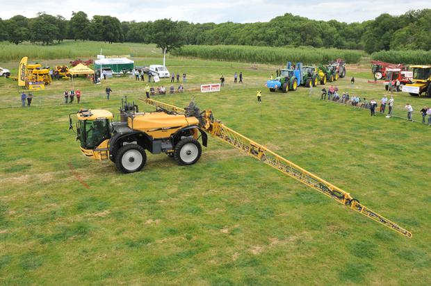 Spraying action: The Hardi commander 4,500-litre capacity trailed sprayer being demonstrated at Oak Park last week.