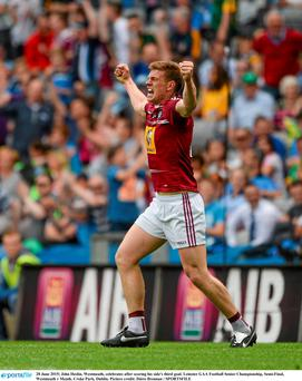 Elated: John Heslin celebrates the winning goal against Meath