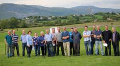 Sean Conway with the STAP The Lights sheep discussion group on the farm of Des Irwin, Ballinvoher , Co. Sligo discussing grassland management post weaning.
