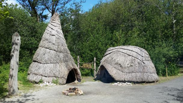 Medieval Irish dwellings have been replicated at the Irish Heritage Park in Ferrycarrig, Co Wexford
