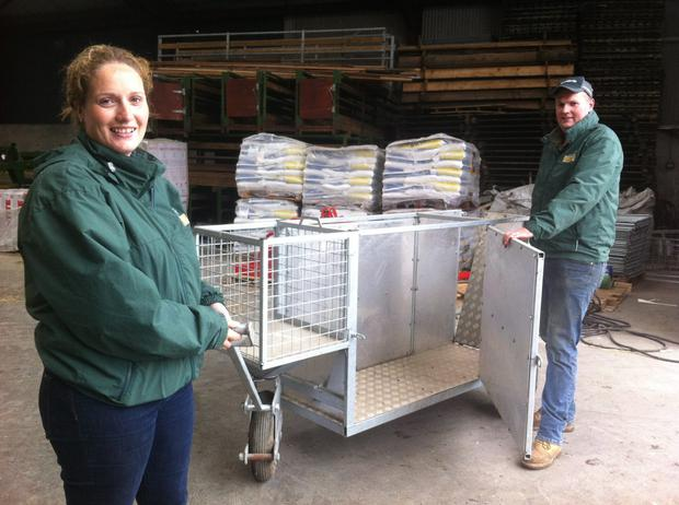 Chris and Sarah Bourns with their custom-built ewe-and-lamb transporter.