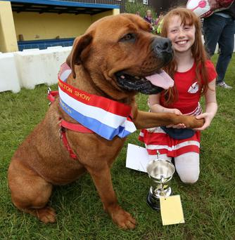 Isable Lunn with her prize-winning 'gentle giant'. Photo: Liam Malaniff.