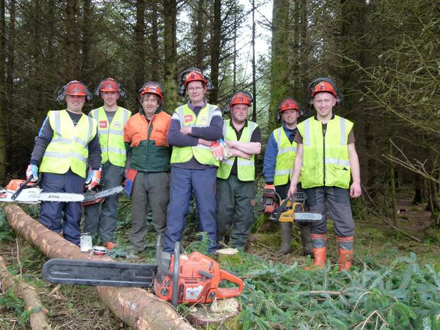 Members of the Sligo/ Leitrim Forest Owners Group participating in chainsaw training. The course tutor was Seamus Whelan from Teagasc.