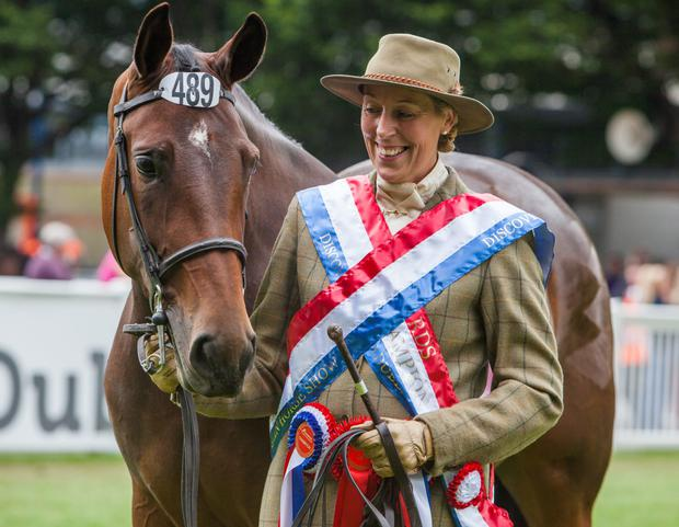 Reign supreme: Rebecca Monahan with Notalot after winning the Supreme Horse Championship