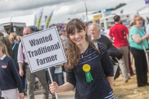 Elaine Bennett originally from Tullamore but now living outside London was looking for a traditional farmer but not for romantic reasons but to be a finalist in the Traditional farmer competition at the Tullamore Show. Photo: Pat Moore