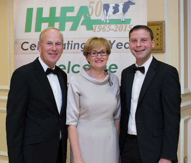 Charles Gallagher IHFA; Mairead McGuinness MEP and Donal Carey IHFA at the IHFA 50 Years Celebration Gala Ball in The Heritage Killenard.