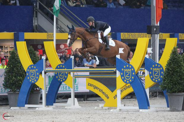 Ard Ginger Pop in action at Lanaken last year with Swedish rider Angelica Augustsson.