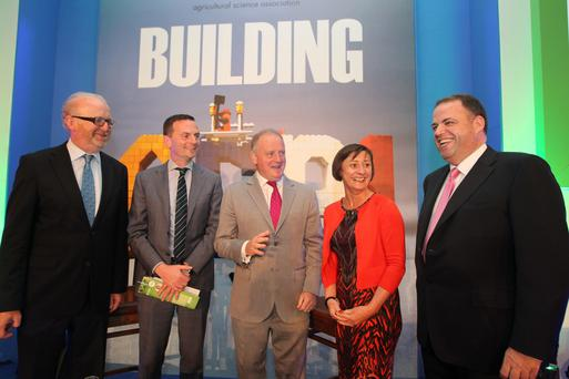 Joe Gill from Goodbody Stockbrokers, Kevin Cahill, chief executive, Kepak Meat Division, Kevin Lane, chief exective, Ornua, Prof Dolores O'Riordan from UCD Institute of Food and Health and Prof Damien McLoughlin from Smurfit Graduate Business School UCD who addressed the ASA Conference.
