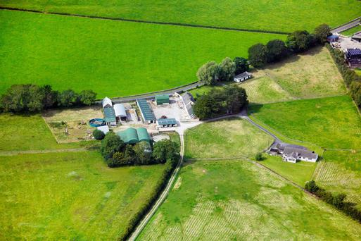 An aerial view of Ballyvolane Stud and farm, Co Limerick which comes with 77ac of fine grazing ground