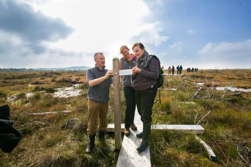John Connelly, Coillte Project Manager; Caitlin Rigney, who is doing research on Greenhouse Gases emissions from re-wetting peatland forests and Dr Catherine O'Connell from the Irish Peatland Conservation Council photographed at Schohaboy Bog in Co Tipperary last week.