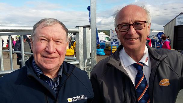 Ireland's largest gate manufacturer Oliver Gibney (left) and the fourth generation cattle equipment manufacturer Bob Ritchie at last month's ploughing championships.
