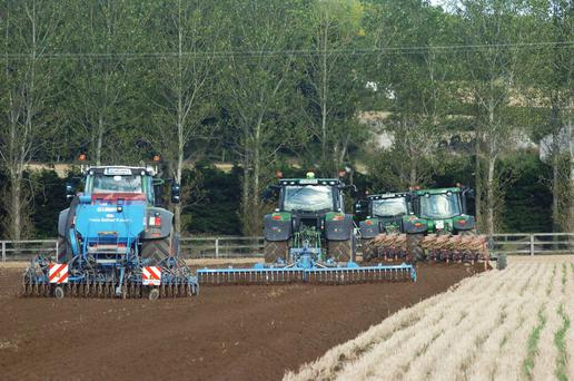 Ian Howard ploughing and sowing 200ac at LittleGrange Slane, Co Meath of a new Californian winter barley variety. Photo: Seamus Farrelly