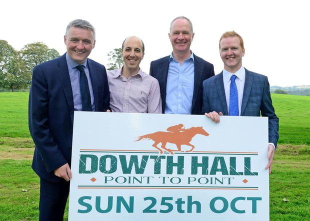 Members of the Devinish Nutrition team launch the point-to-point at Dowth Hall. From left, Patrick McLaughlin, Geoffrey Frawley, Owen Brennan and Simon Caughey