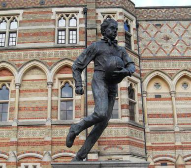 A statue commemorating the 'inventor of rugby' William Webb Ellis at the Rugby public school in Warwickshire - did he steal the idea from his contemporaries in Carlow?