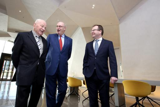 EU Commissioner Phil Hogan with Pat Burke, Grant Thornton and Liam Downey, former head of Teagasc at the launch of the Agri-Food Strategy Group report last week Photo: Mac Innes Photograph