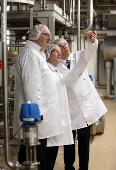 Taoiseach Enda Kenny pictured with Jim Bergin CEO Glanbia Ingredients Ireland, and EU Agriculture Commissioner Phil Hogan at the official launch of the Glanbia Ingredients Plant at Belview, Waterford earlier this year.