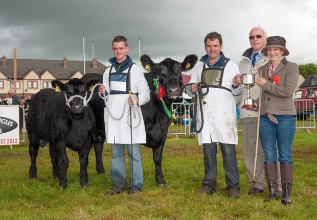 Matthew Goulding and his son David after receive the Champion of Champions award at the recent Angus Show in Tullamore.