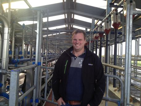 Paddy O'Gorman pictured in the new €300,000 milking parlour on the family farm at Ratheevan, near Clonmel.