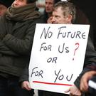 Grain farmers at the protest outside Glanbia headquarters in Kilkenny.Photo: Finbarr O'Rourke