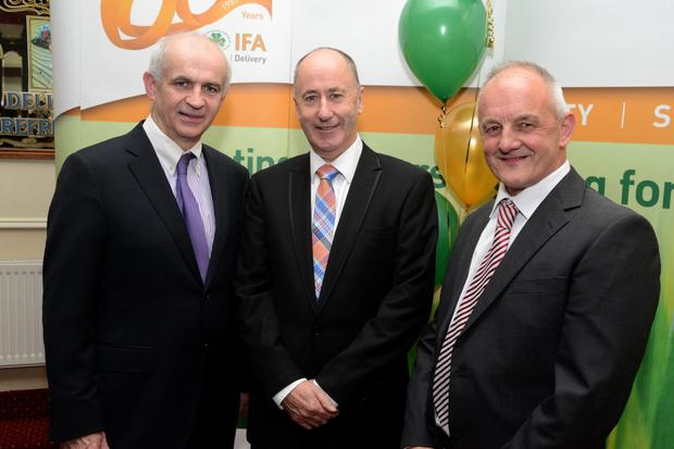 IFA President Eddie Downey with Alan Coleman MCC and President West Cork IFA Richard Connell at the West Cork IFA 60th anniversary dinner dance at the Parkway Hotel, Dunmanway. Picture Denis Boyle