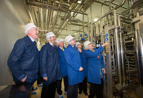Heritage Minister Heather Humphreys TD and Minister for Employment Ged Nash TD with Frank Tobin, Operations director (left) and Colin Gordon, CEO Glanbia Agribusiness tour the plant at the official opening of the Glanbia UHT Milk Plant at Lough Egish, Co Monaghan. Photo: Alf Harvey.